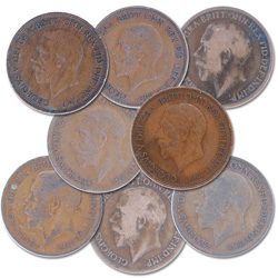 1911-1936 Great Britain George V Penny Set (8 coins)