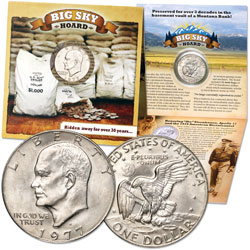 1977-D Eisenhower Dollar in Custom Holder, Big Sky Hoard, MS60