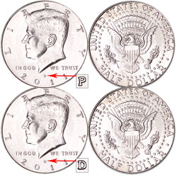 2011 P&D Kennedy Half Dollars