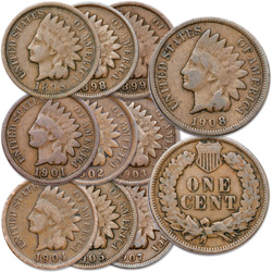 1895-1908 10 Different Indian Head Cents