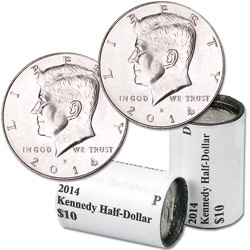2014 P&D Kennedy Half Dollar Rolls