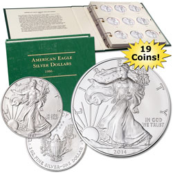 1987-2014 American Eagle Silver Dollar Set with Album (19 coins)
