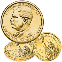 2013 P&D Theodore Roosevelt Presidential Dollar Set