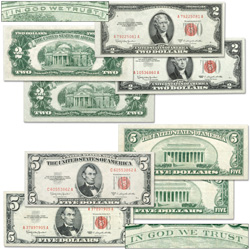 1953C No Motto and 1963 With Motto $2 & $5 Legal Tender Note Set (4 notes)