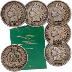 1900-1904 Five Consecutive Indian Head Cents with Folder