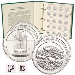 2010-2012 P&D National Park Quarter Set (30 coins) with Album