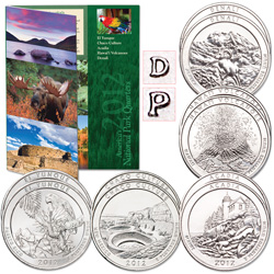 2012 P&D National Park Quarter Set (10 coins) with Folder