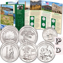 2013 P&D National Park Quarter Set (10 coins) with Folder