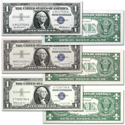 1957 Complete $1 Silver Certificate Set (3 notes)