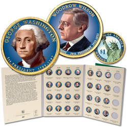 2007-2013 Complete Colorized Presidential Dollar Set with Folder (28 coins)
