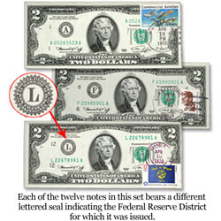 Complete 12-District Set of 1976 First-Day-Of-Issue $2 Federal Reserve Notes (12 notes)