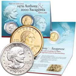 1979 Susan B. Anthony & 2000 Sacagawea Dollar Set