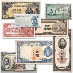 1930-1964 Asian Bank Note Set (8 notes)