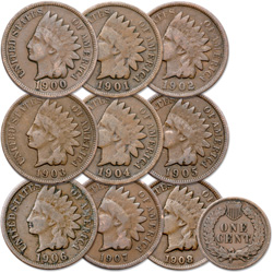 1900-1908 9 Consecutive Indian Head Cents