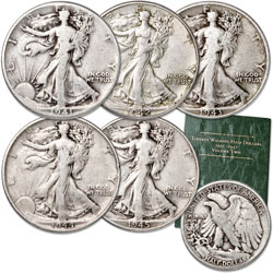 1941-1945 Liberty Walking Half Dollar Set (5 coins) with Folder