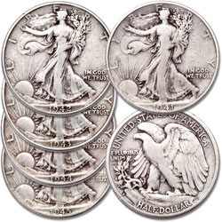 1941-1945 Liberty Walking Half Dollar Set (5 coins)
