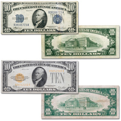 1928-1934 $10 Silver & Gold Certificates Set