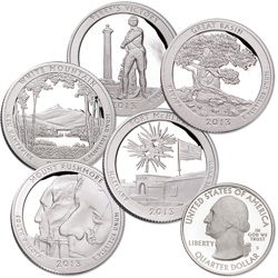 2013-S Clad America's National Park Quarter Proofs (5 coins)