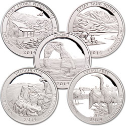 2014-S Clad America's National Park Quarter Proofs (5 coins)