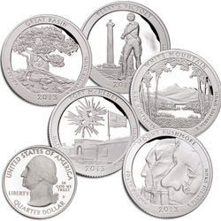 2013-S 90% Silver America's National Park Quarter Proofs (5 coins)