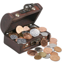 50 Coins from 50 Countries with Treasure Chest