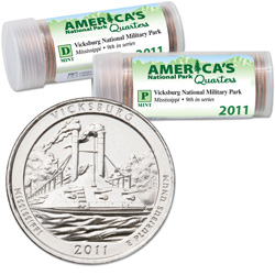 2011 P&D Vicksburg America's National Park Quarter Roll Set (80 coins)