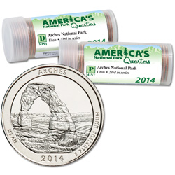 2014 P&D Arches National Park Quarter Roll Set (80 coins)