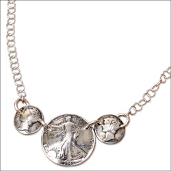 Mercury Dime & Liberty Walking Half Dollar Necklace