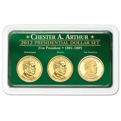 2012 Chester A. Arthur Presidential Dollar in Exclusive PDS Showpak