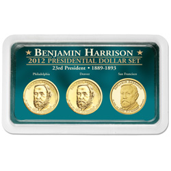 2012 Benjamin Harrison Presidential Dollar in Exclusive PDS Showpak