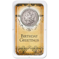 Morgan Dollar in Happy Birthday Showpak