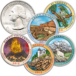 2012 Colorized National Park Quarter Year Set