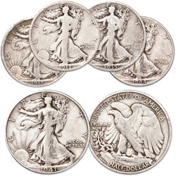 1917-1944 Liberty Walking Half Dollar Set (5 coins)