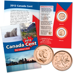 2012 Canada Cents in Custom Folder (2 coins)