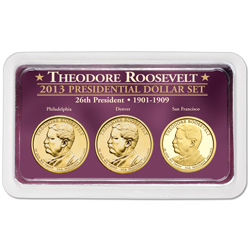 2013 Theodore Roosevelt Presidential Dollar in Exclusive PDS Showpak