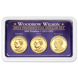 2013 Woodrow Wilson Presidential Dollar in Exclusive PDS Showpak
