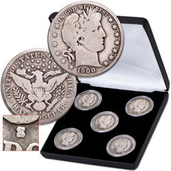 1900-1915 Barber Half Dollar Set (5 coins) in Display Case