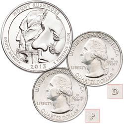 2013 P&D Mount Rushmore National Memorial Quarter Set