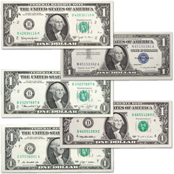1957-2009 Five-Decade Set of $1 Bills