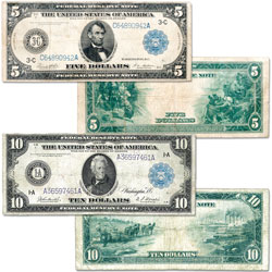 Series 1914 $5 & $10 Federal Reserve Note Set