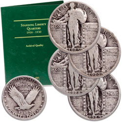 1925-1929-S Standing Liberty Quarter Set (4 coins) with Folder