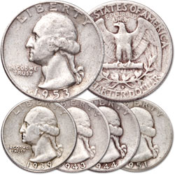 1939-1953 Washington Silver Quarter Set (5 coins)