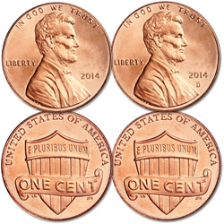 2014 P&D Lincoln Head Cent Set