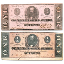 1863 & 1864 $1 Confederate Note Set