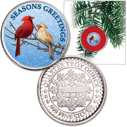 Colorized Cardinal Silver Round Ornament