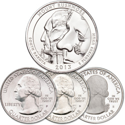 2013 PDS Mount Rushmore National Memorial Quarter Set