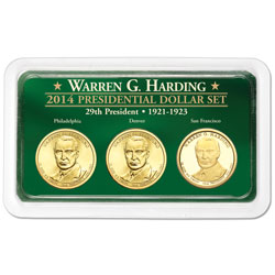 2014 Warren G. Harding Presidential Dollar in Exclusive PDS Showpak
