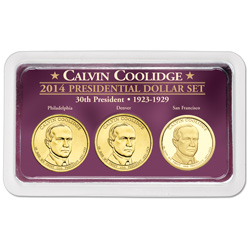 2014 Calvin Coolidge Presidential Dollar in Exclusive PDS Showpak