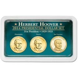 2014 Herbert Hoover Presidential Dollar in Exclusive PDS Showpak