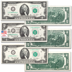 1976 $2 Federal Reserve Note Set (3 notes)